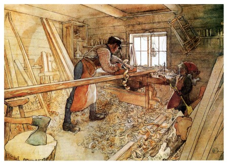 In the carpenter's shop by Carl Larson - 1905